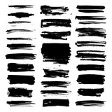 vector paint brush strokes, collection of grungy design elements. black, isolated on white background. - 192757809
