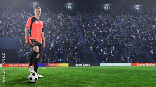 Plexiglas Voetbal female football player in red uniform on soccer field