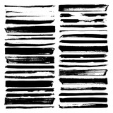 vector paint brush strokes, collection of grungy design elements. black, isolated on white background. - 192758462