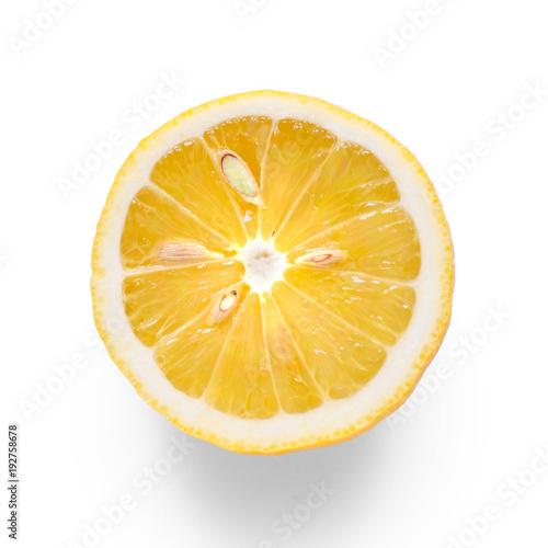 Lemon half on white background isolation