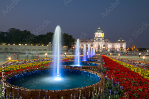 Bangkok, Thailand - February 6, 2018 : Fountain and colorful flowers with Ananta Samakhom Throne Hall in the background, Bangkok, Thailand.