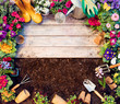 Quadro Gardening Frame - Tools And Flowerpots On Wooden Table And Dirt