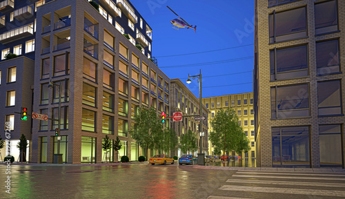 Centro di new york, illustrazione 3d, strada e palazzi, grattacieli e automobili
