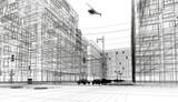 Centro di new york, illustrazione 3d, strada e palazzi, grattacieli e automobili - 192767434