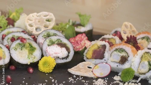 A large portion of sushi served in a restaurant