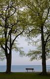A bench at the water's edge in Queen's Royal Park, NIagara Falls, Ontario, Canada