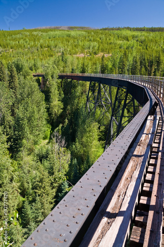 Sticker Train trestle on the Kettle Valley Railway near Kelowna, British Columbia, Canada