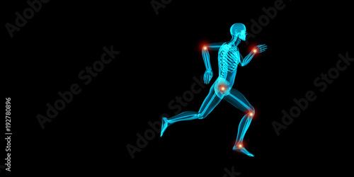 Foto op Canvas Jogging Artistic 3D illustration of a jogger having pain in his joints
