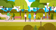 People Relaxing In Nature In Beautiful Urban Park Walking Riding Bicycle And Communicating Flat Vector Illustration