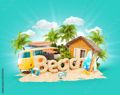 Fotobehang Groene koraal The word Beach made of sand on tropical island. Unusual 3d illustration of summer vacation. Travel and vacation concept.