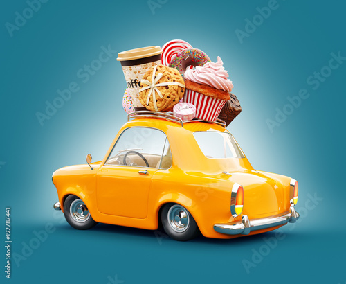 Cute fantastic chocolade car with sweets and coffee on top. - 192787441