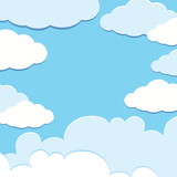 Background template with blue sky and white clouds