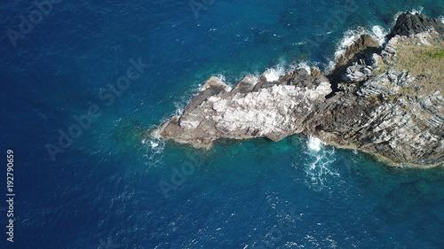 Aerial photo island coastline and sea