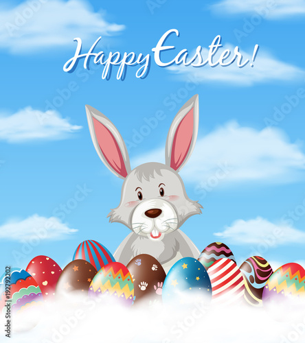 Easter poster design with bunny and eggs in sky