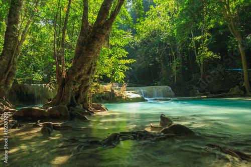 Waterfall in tropical deep forest at Erawan National Park ,Kanchanaburi Province, Thailand