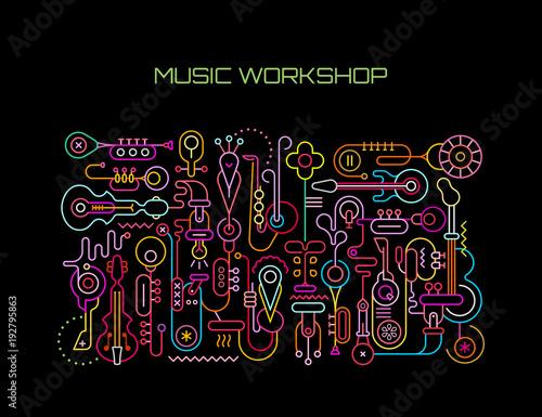 Fotobehang Abstractie Art Music Workshop vector illustration