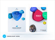 Set of design brochure, abstract annual report, horizontal cover layout, flyer in A4 with vector colourful rounded shapes