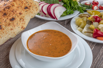Turkish Traditional Tarhana or Ezogelin Soup.