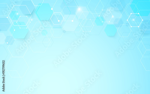 Abstract geometric hexagons shape and lines with science concept background
