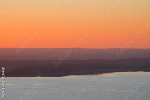 Aluminium Oranje eclat Sunset landscape view over the island Rügen