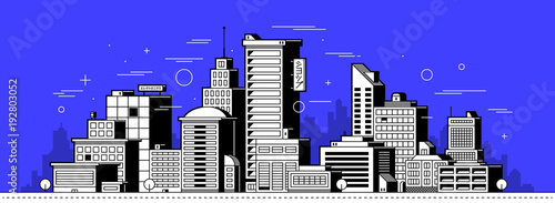 Papiers peints Bleu fonce Modern city illustration. Towers and buildings in outline style on deep blue background