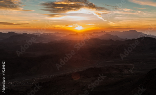 Aluminium Zwart Beautiful scenery, the sunrise in the mountains of Egypt