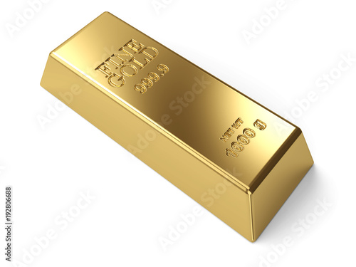 Single Gold Bar on White Background