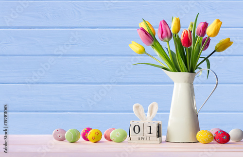 Easter - Calendar Date With Decorated Eggs And Tulips - Pastel Colors