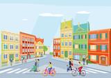 kleine Stadt mit Fußgänger und Radfahren, Illustration - 192811205