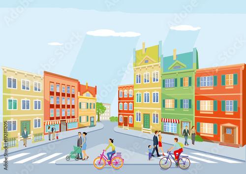 kleine Stadt mit Fußgänger und Radfahren, Illustration