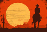 Silhouette of Cowboy riding horses at sunset, vector - 192811451