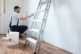 Professional painter worker is painting one wall