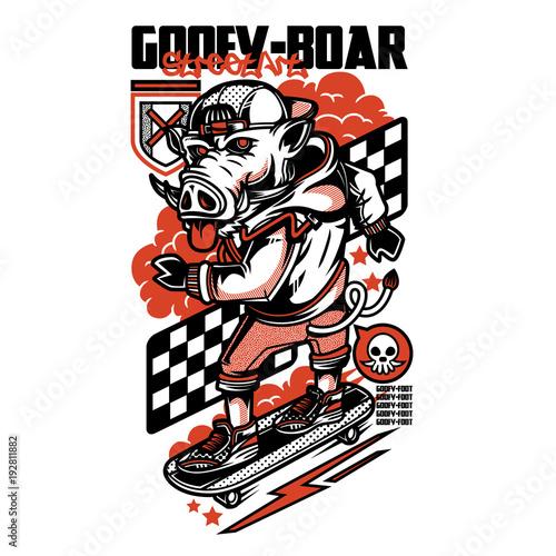 Fotobehang Graffiti Goofy Boar