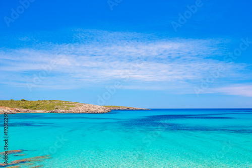 Fotobehang Turkoois Crystal Clear Water of Mediterranean Sea at Arenal de Son Saura