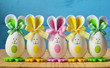 Quadro Colored easter eggs bunny. Happy Easter.