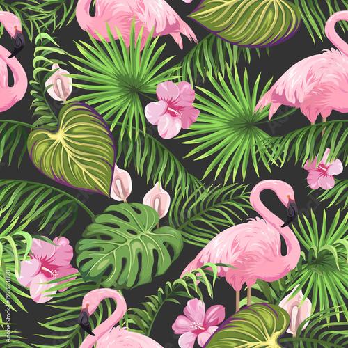 Bezszwowy wzór z tropikalnymi liśćmi, egzotycznymi kwiatami i flamingiem ,.