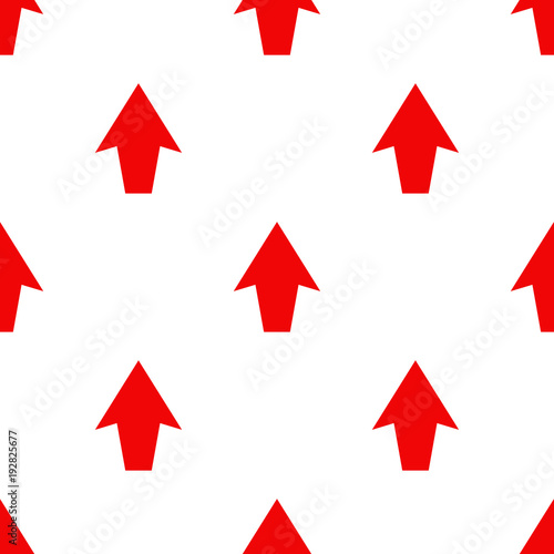 Seamless pattern. Red arrow on white background.
