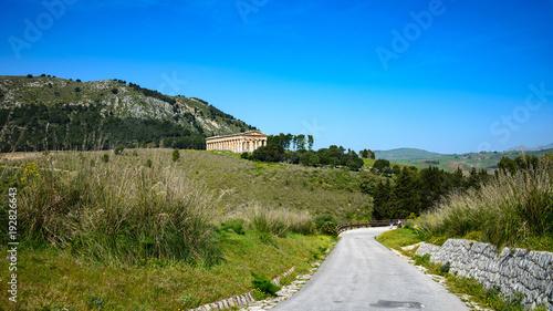 Tuinposter Weg in bos Antyczna świątynia w Segesta, Sycylia, Włochy