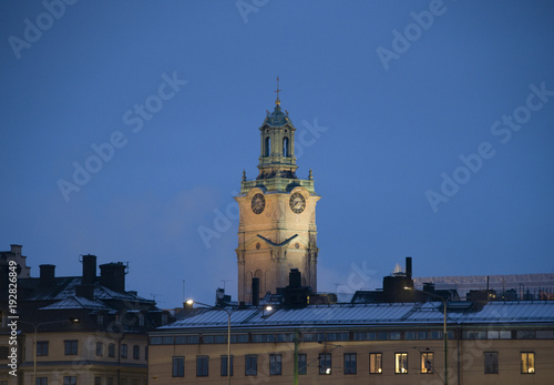 Fotobehang Stockholm Old church in Stockholm a cold winter morning