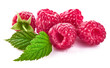 Raspberry berries with green leaf. Healthy food fresh fruit.