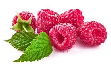 Raspberry berries with green leaf. Healthy food fresh fruit.