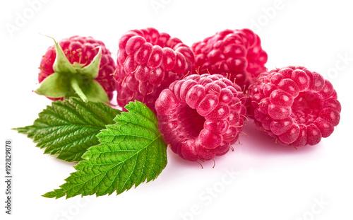 Fototapeta Raspberry berries with green leaf. Healthy food fresh fruit.