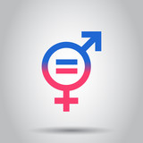 Gender equal icon. Vector illustration on isolated background. Business concept men and women pictogram. - 192834445