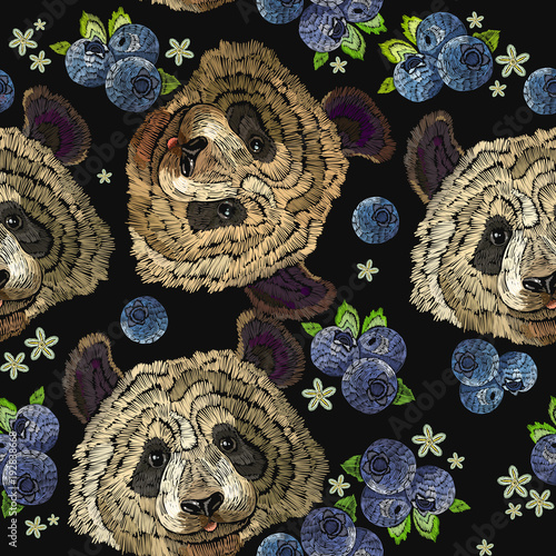 Embroidery panda head and bilberry berries seamless pattern. Fashion template for clothes, textiles, t-shirt design. Classical embroidery portrait of funny panda bear pattern