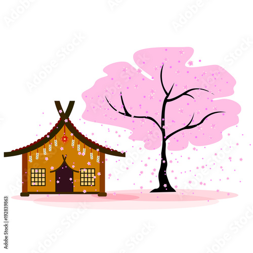 Japanese house next to blooming cherry blossoms, late flowers fall, background