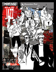 Jazz poster, musicians on a grunge background © Isaxar