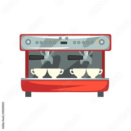 Sticker Professional coffee machine cartoon vector Illustration on a white background
