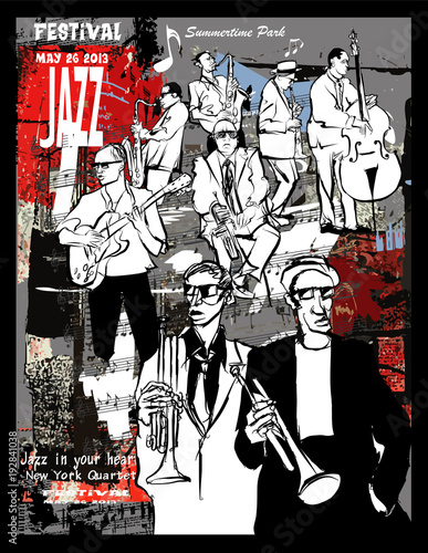 Jazz poster, musicians on a grunge background