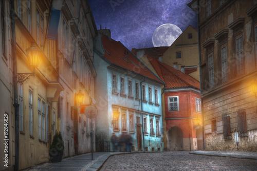 Tuinposter Praag old streets of Prague night.