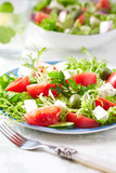 Mediterranean-style salad with endive, feta and green olives - 192849294